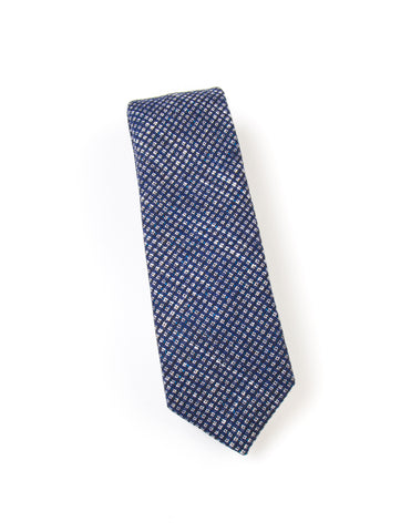 BROOKLYN TAILORS - Square Textured Wool Necktie - Navy With White