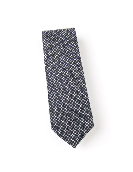 BROOKLYN TAILORS - Square Textured Wool Necktie in Black Off and White