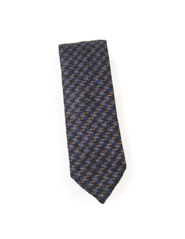 BROOKLYN TAILORS - Wool Houndstooth Plaid Necktie in Black/Brown/Navy