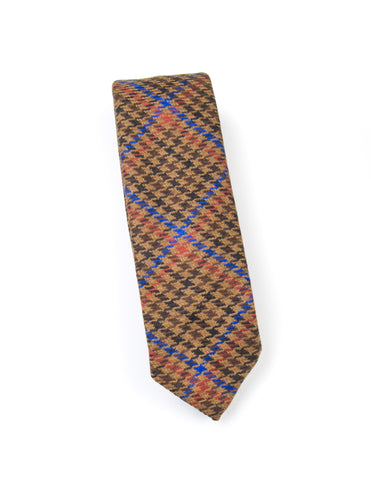 BROOKLYN TAILORS - Wool Houndstooth Plaid Necktie in Camel/Brown/Orange/Blue