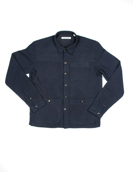 FINAL SALE: BROOKLYN TAILORS - BKT15 Shirt Jacket in Navy Open Weave Cotton