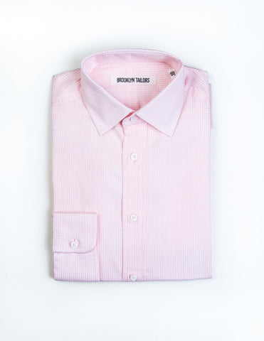 FINAL SALE: BROOKLYN TAILORS - BKT20 Dress Shirt in Pink Check