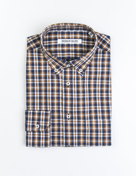 FINAL SALE: BROOKLYN TAILORS - BKT10 Casual Shirt in Blue and Marigold Yellow Plaid
