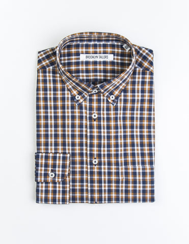 BROOKLYN TAILORS - BKT10 Casual Shirt in Blue and Marigold Yellow Plaid