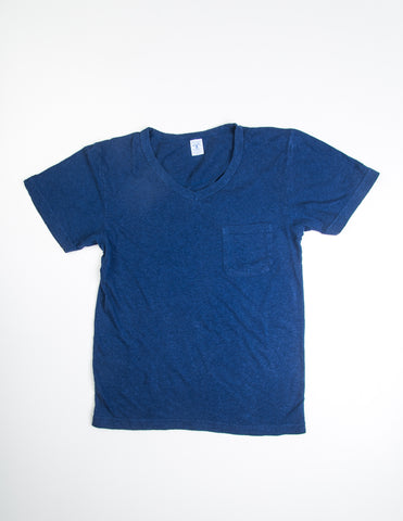 VELVA SHEEN - V-Neck Slub Cotton Tee in Navy