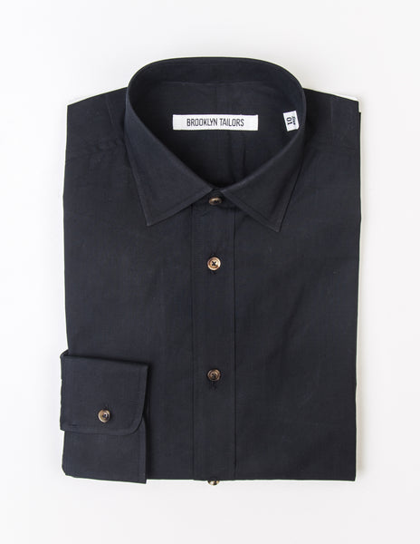 BROOKLYN TAILORS - BKT20 Dress Shirt in Black Poplin