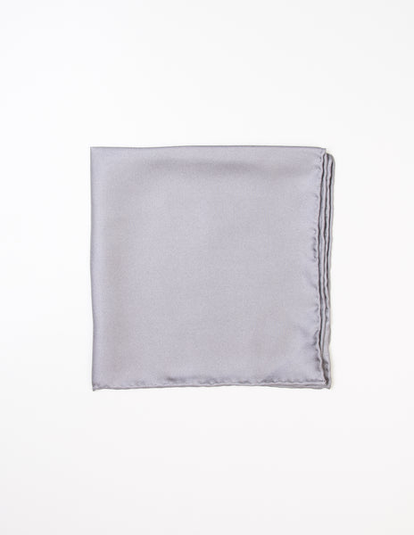 FAIRFAX - Solid Silk Pocket Square in Grey