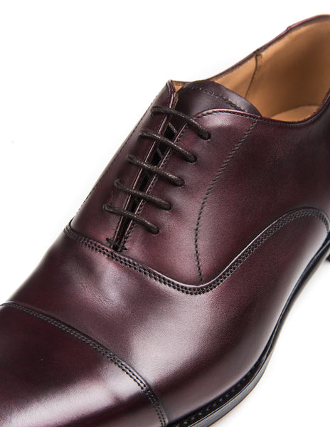 66ceeca166045 JOSEPH CHEANEY - Lime Oxford Shoes in Burgundy Calf Leather