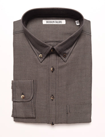 BROOKLYN TAILORS - BKT10 Slim Casual Shirt in Soft Basketweave - Earth