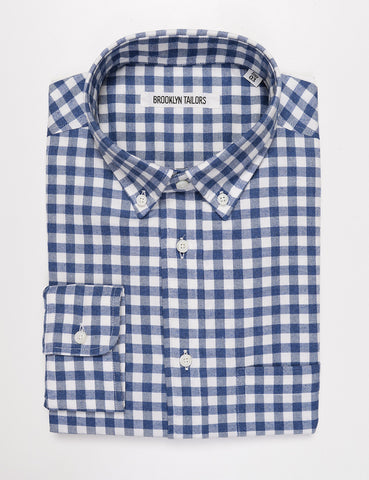 BROOKLYN TAILORS - BKT10 Slim Casual Shirt in Brushed Cotton Gingham - Blue and White