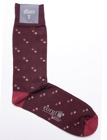 Corgi - Cotton Hash Tag Dress Socks in Burgundy