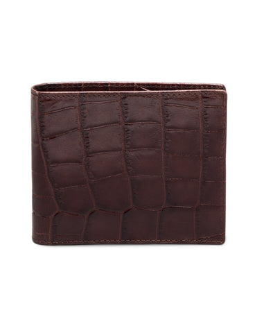 ETTINGER - Croco Billfold Wallet with 6 C/C in Mahogany/Black