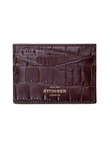 ETTINGER - Coco Flat Credit Card Case in Mahogany/Black