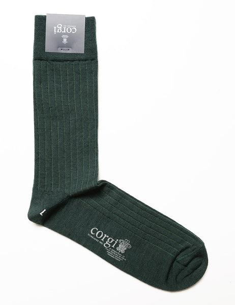 CORGI - Ribbed Wool Dress Socks in Bottle