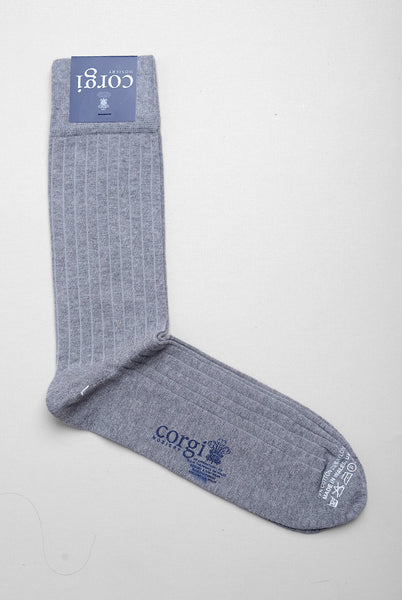 CORGI - Ribbed Cotton Dress Socks in Grey