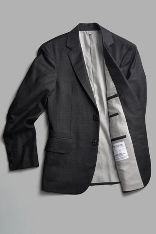 BROOKLYN TAILORS - Handmade Jacket in Brushed Wool Sharkskin - Charcoal