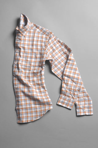 FINAL SALE - BROOKLYN TAILORS - BKT10 Casual Shirt in Rust/Ivory/Black Plaid Flannel