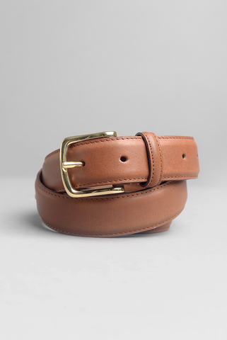 FINAL SALE: BROOKLYN TAILORS - Dress Belt in Honey Brown with Brass