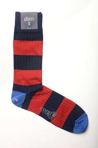 Corgi - Border Stripe Cotton Socks in Crimson/Navy