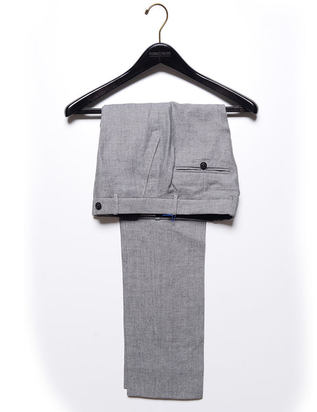 FINAL SALE - BROOKLYN TAILORS - BKT50 Tailored Trouser in Gray Linen (Size 02 Only)