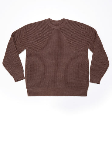 BATONER - Signature Crew Rib Neck Sweater in Brown