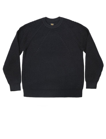 BATONER - Signature Crew Rib Neck Sweater in Black