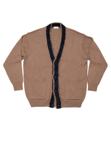 FINAL SALE: CAMOSHITA - Line Cardigan in Wool/Cotton - Beige with Black Trim