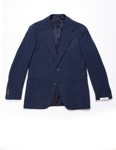 CAMOSHITA - Unstructured Blazer in Heavy Wool Flannel - Blue