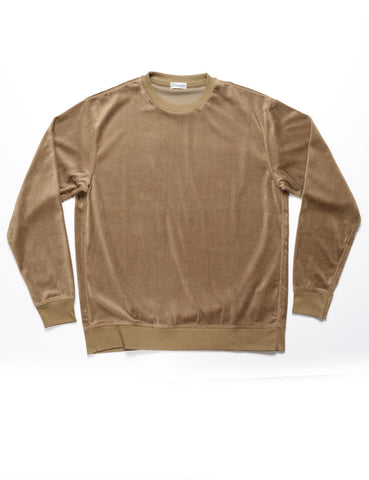 CAMOSHITA - Crew Neck Sweater in Velour - Olive