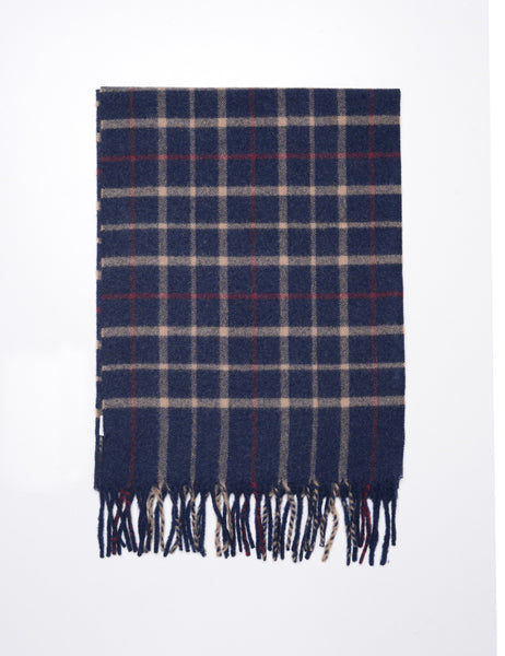 MA.AL.BI - Camel Hair Over Check Scarf in Midnight