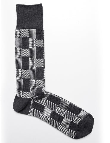 ANONYMOUS ISM - Crew Socks in Mixed Pattern in Charcoal