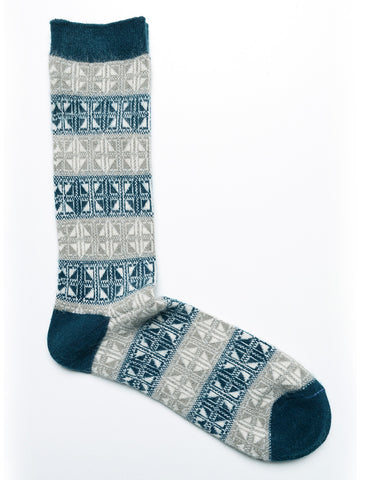 ANONYMOUS ISM - Crew Socks in Diamond Structure - Ink Blue