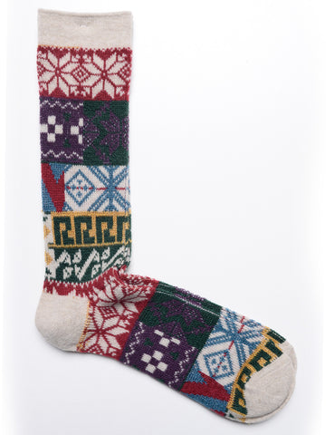 FINAL SALE: ANONYMOUS ISM - Crew Socks - Multi JQ in Natural