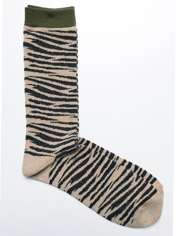 ANONYMOUS ISM - Crew Socks in Animal Print - Olive