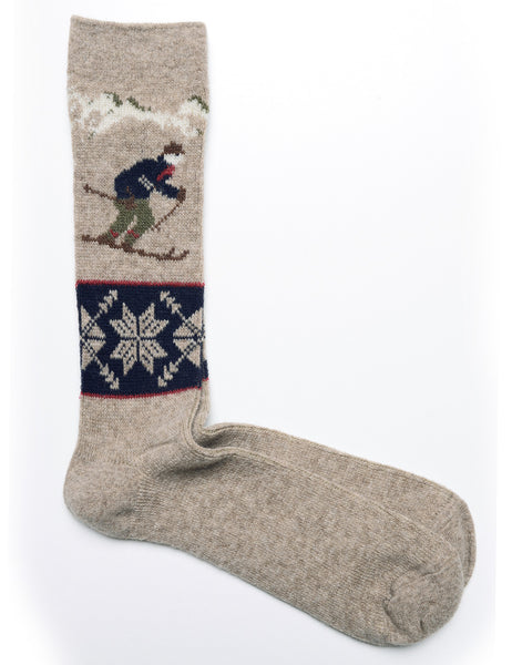 ANONYMOUS ISM - Crew Socks in Wool Ski JQ - Beige