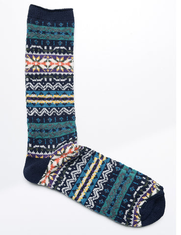 ANONYMOUS ISM - Crew Socks in Fair Isle - Dark Navy