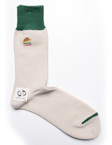 ANONYMOUS ISM - Pizza Crew Socks in Recycled Cotton - Natural