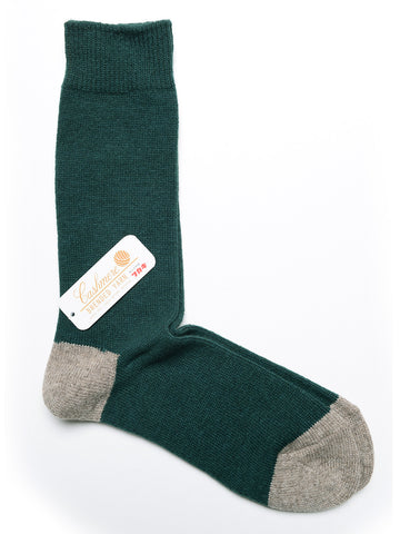 ANONYMOUS ISM - 2 Point Crew Socks in Cashmere/Wool - Moss Green