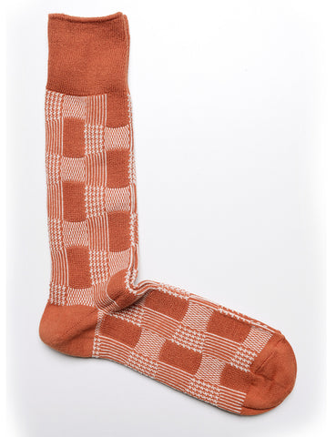 ANONYMOUS ISM - Crew Socks in Mixed Pattern in Brick