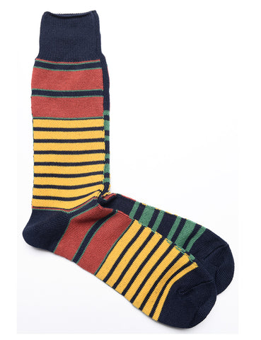 ANONYMOUS ISM - Horizon Stripe Crew Socks in Red, Yellow, and Navy
