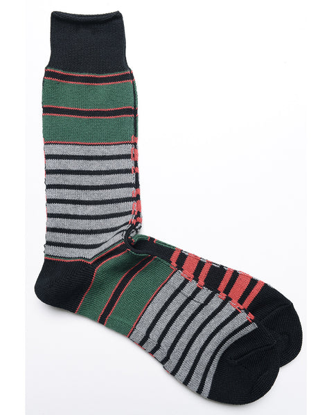 ANONYMOUS ISM - Horizon Stripe Crew Socks in Heather Gray, Green, and Black