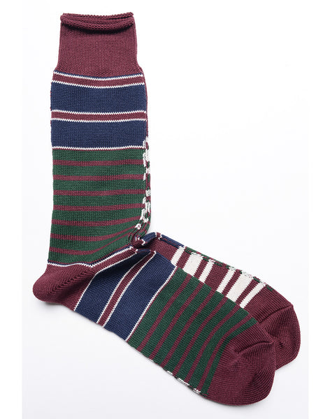 ANONYMOUS ISM - Horizon Stripe Crew Socks in Wine, Navy, and Forest