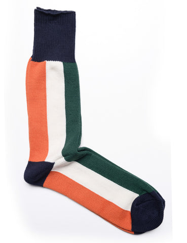 ANONYMOUS ISM - Bar Stripe Crew Socks in Orange, White, and Green