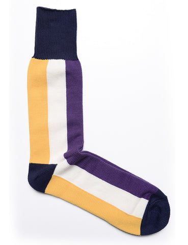 ANONYMOUS ISM - Bar Stripe Crew Socks in Yellow, White, and Purple