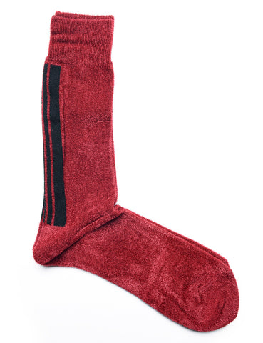 FINAL SALE: ANONYMOUS ISM - Velour Crew Socks in Red with Black Stripe