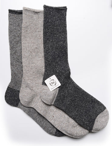 ANONYMOUS ISM - 3-Pair Pack Socks in Nep Yarn Rib - Gray