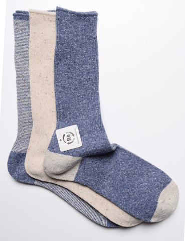 ANONYMOUS ISM - 3-Pair Pack Socks in Nep Yarn Rib - Blue