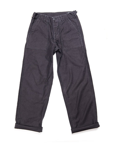 ORSLOW - US Army Fatigue Trousers in Reverse Cotton Sateen - Black Stone