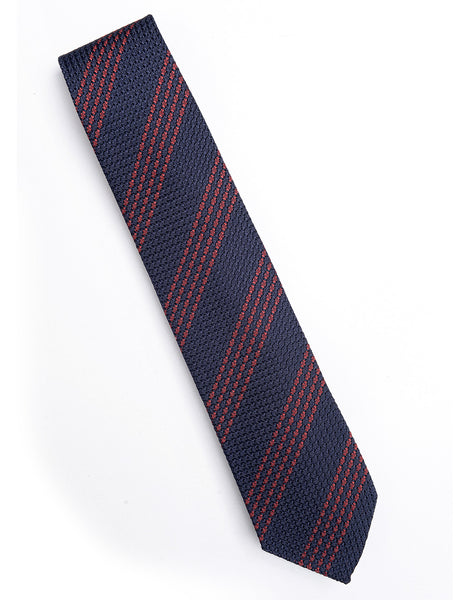 DRAKE'S - Navy and Red Quad Stripe Grenadine Silk Tie
