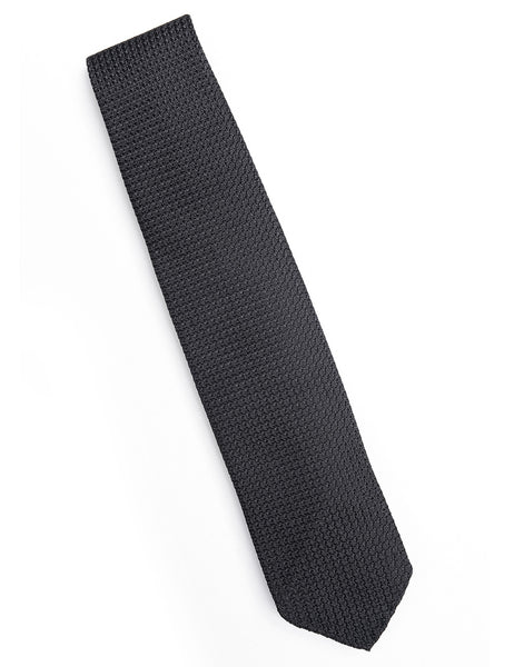 DRAKE'S - Hand-rolled Large Knot Grenadine Tie -Black